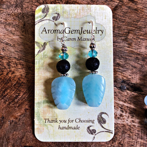 Essential oil diffuser earrings - aqua quartz - leaf - Sterling Silver