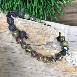 Essential oil diffuser bracelet - Bloodstone (Potection, Energy cleansing, courage, restoration)