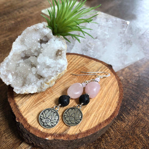 Essential oil diffuser earrings - Rose quartz - lotus - Sterling Silver