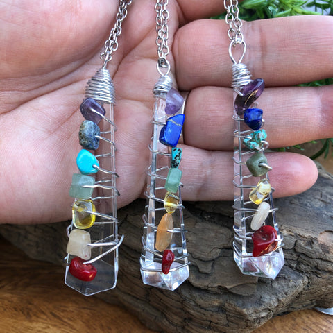 Chakra necklace-costume Quartz jewelry with genuine Chakra stone chips.