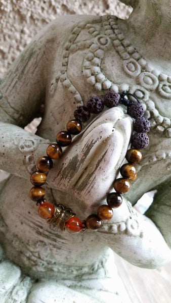 Essential oil diffuser bracelet -Tiger Eye - butterfly