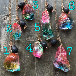 Rainbow Glass aromatherapy necklace
