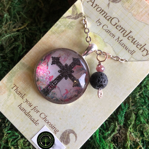Essential oil diffuser necklace - cross