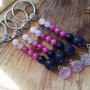 Essential oil diffuser keychain - Rose Quartz, love