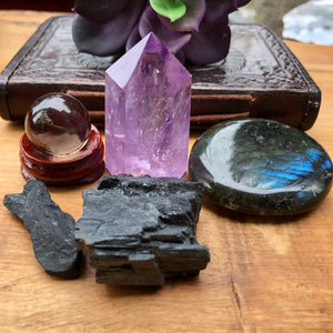 Protection Bundle (small Smokey Quartz sphere,  Amethyst tower, Labradorite Palm stone, Black Tourmaline, Shungite)