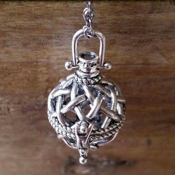 Essential oil diffuser necklace - bola cage - silver finish