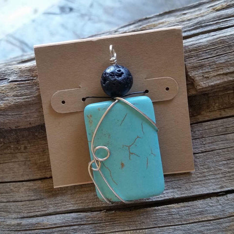 Essential oil diffuser necklace - magnesite - w/SS chain