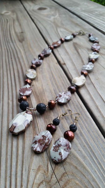 Essential oil diffuser necklace/earring set - Crazy Horse Jasper & cultured pearl