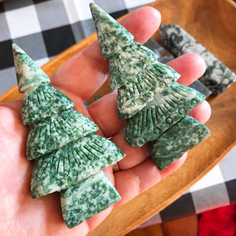 Carved Tree Agate Pines (4 inches & free standing)