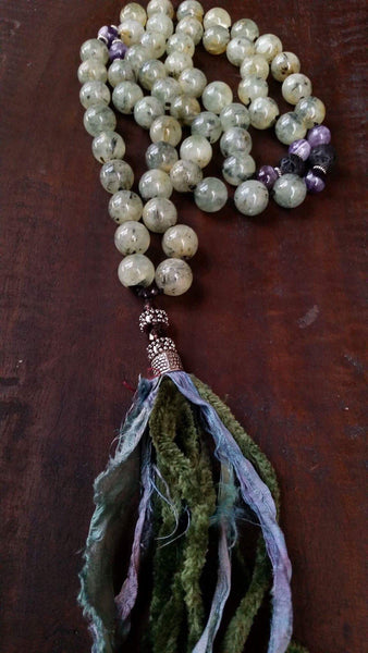 Essential oil diffuser necklace -Prehnite and Amethyst mala