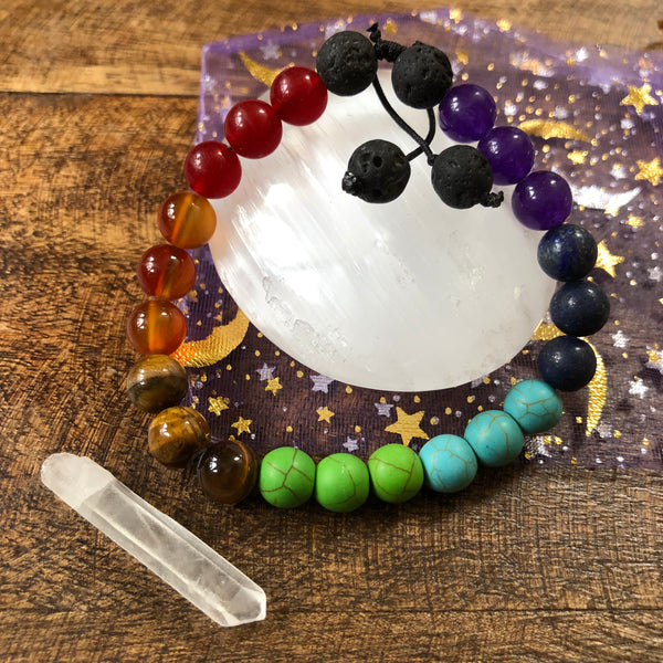 Chakra Essential oil diffuser bracelet set - with Selenite and Quartz crystal