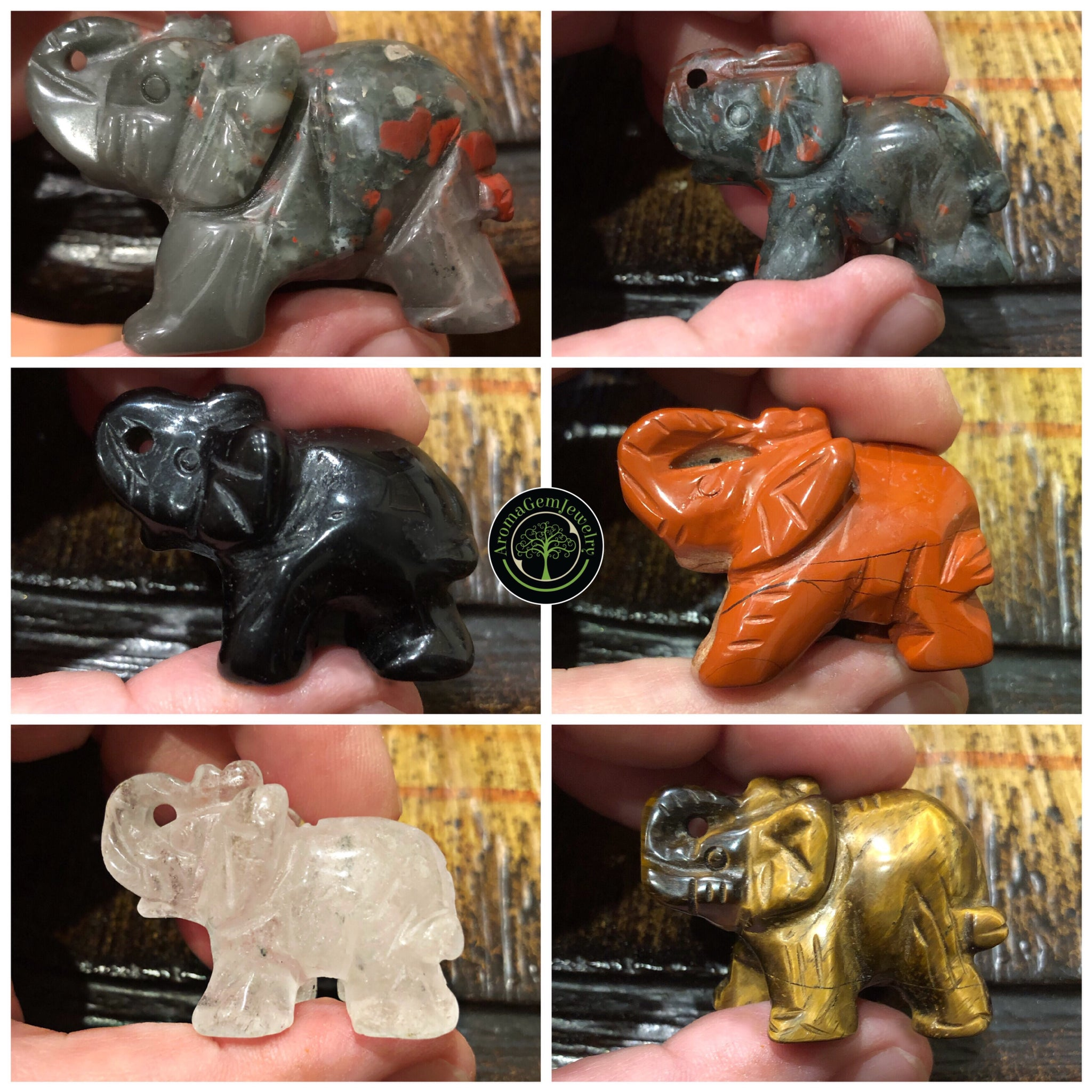 Gemstone carved elephants