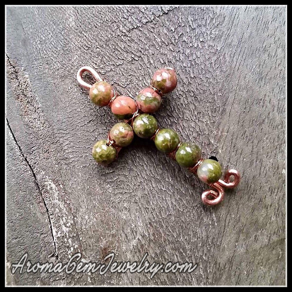 Essential oil diffuser pendant & earring set - Unakite, copper