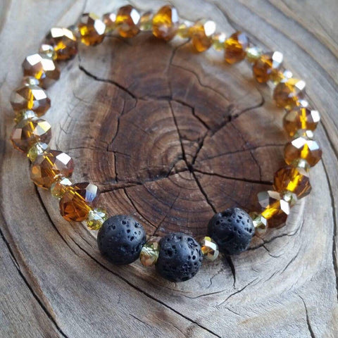 Essential oil diffuser bracelet - amber glass