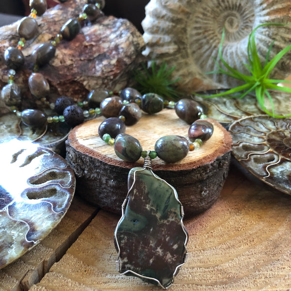 Essential oil diffuser necklace-Sierra Agate