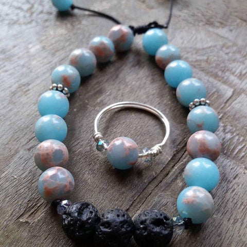 Essential oil diffuser bracelet & ring set - Emporer Jasper