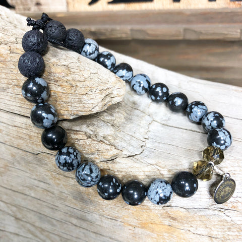 Essential oil diffuser bracelet - Snowflake Agate (Protection, Purify, Balance, Metamorphosis)