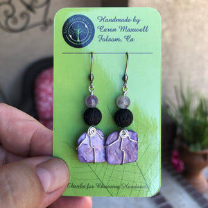 Charoite aromatherapy earrings