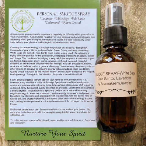 Smudge Spray-Essential oil blend - Personal Smudge Spray - Palo Santo, White Sage, Lavendar