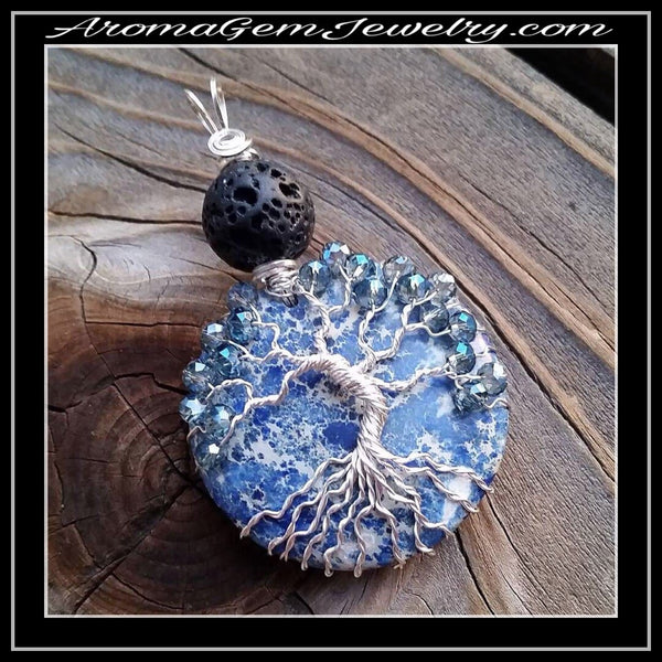 Essential oil diffuser necklace - pendant - tree of life