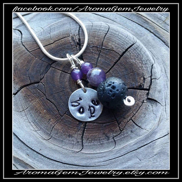 Essential oil diffuser necklace - minimalist - amethyst - hand stamped Hope charm