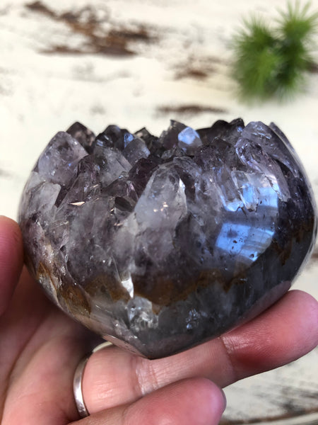 Large Amethyst Polished edge geode heart