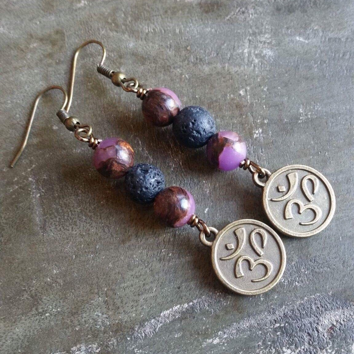 Essential oil diffuser earrings-Om -jasper