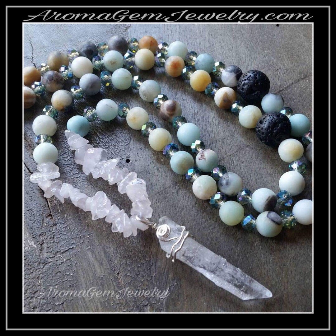 Essential oil diffuser necklace -a matte amazonite, quartz crystal, glass, lava