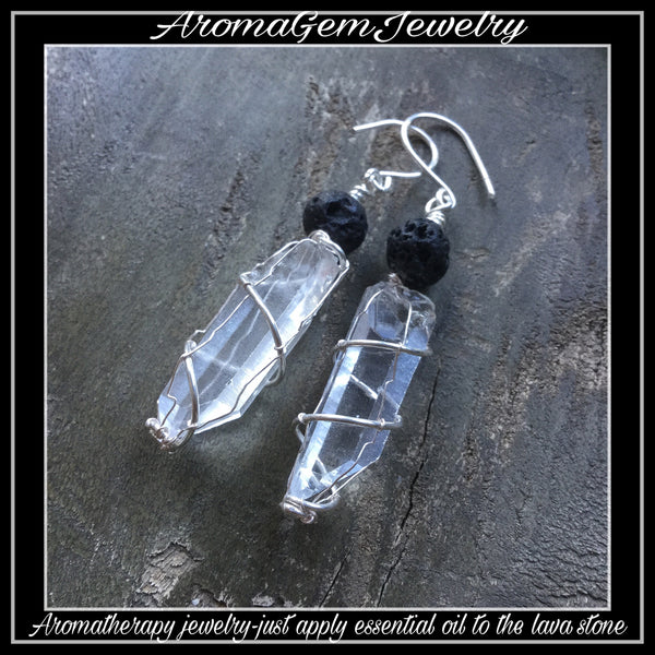Essential oil diffuser earrings -quartz crystal , silver