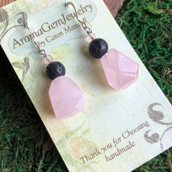 Essential oil diffuser earrings - Rose Quartz  - Sterling Silver
