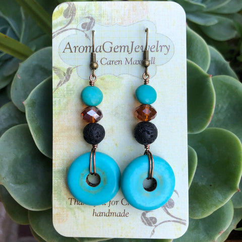 Essential oil diffuser earrings-blue Howlite- donut