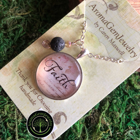 Essential oil diffuser necklace - Faith