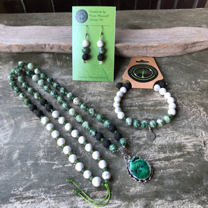 Essential Oil Diffuser necklace/bracelet/ earring set - Tree Agate, Howlite