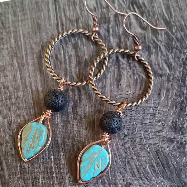 Essential oil diffuser earrings- fall leaves - blue magnesite & copper