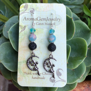 Essential oil diffuser earrings-Sterling Silver- aqua sediment jasper- fairy