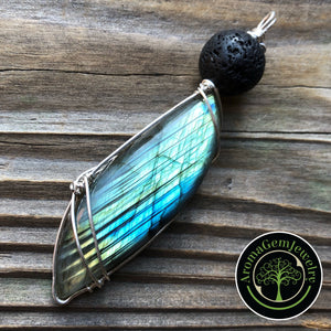 Essential oil diffuser pendant- sterling silver wire wrapped large Labradorite