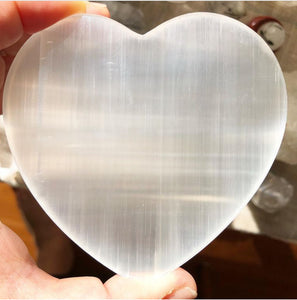 "Satin Spar (""Selenite"") Heart Charging Plate (Energy Cleansing)"