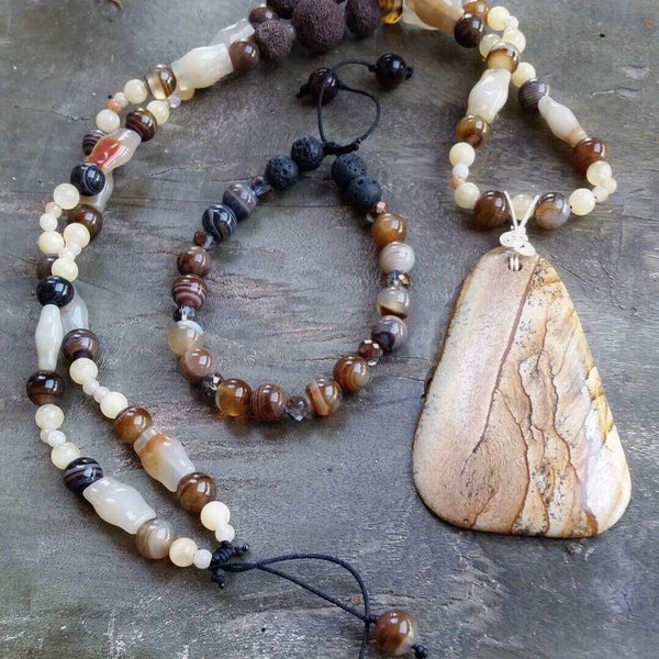 Essential oil diffuser necklace-Picture Jasper, Banded Agate