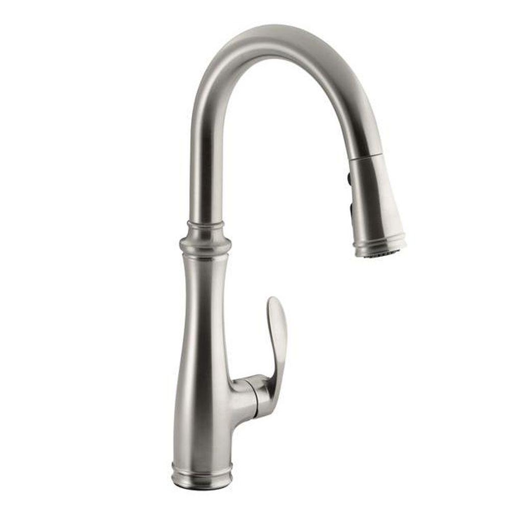 Kitchen faucet, Bellera Single-Handle Pull-Down Sprayer Kitchen Faucet 560-CP with DockNetik and Sweep Spray in Vibrant Stainless