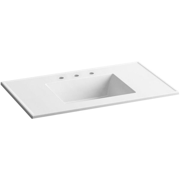 Vanity top, Ceramic/Impressions 37 in. Vitreous China Vanity Top with Basin in White Impressions