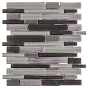 Backsplash, Jeffrey Court Faded Reed 12 in. x 12 in. x 8 mm Glass and Stone Pencil Mosaic Wall Tile