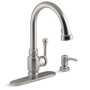Kitchen Faucet, Carmichael Single-Handle Pull-Down Sprayer in Stainless Steel