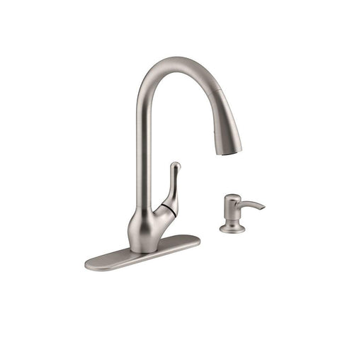Kitchen faucet, Barossa Single-Handle Pull-Down in Vibrant Stainless with Soap/Lotion Dispenser and DockNetik