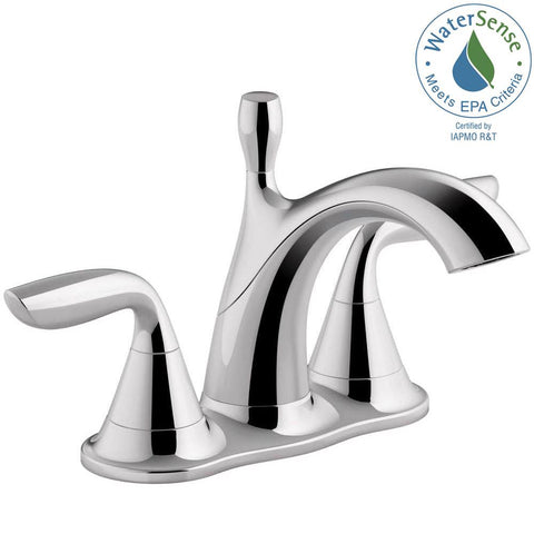 Williamette 4 in. Centerset 2-Handle 1.2 GPM Bathroom Faucet with Pop-Up Drain in Polished Chrome