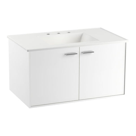 Bathroom Vanity in Linen White with Vitreous China Vanity Top in White