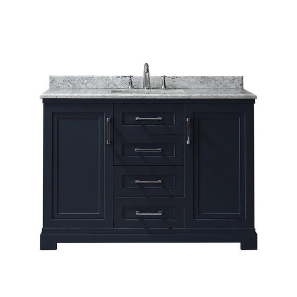 Vanity, Martha Stewart, Lynn 48 in. W x 22 in. D in Midnight Blue with Marble Vanity Top in White with White Basin