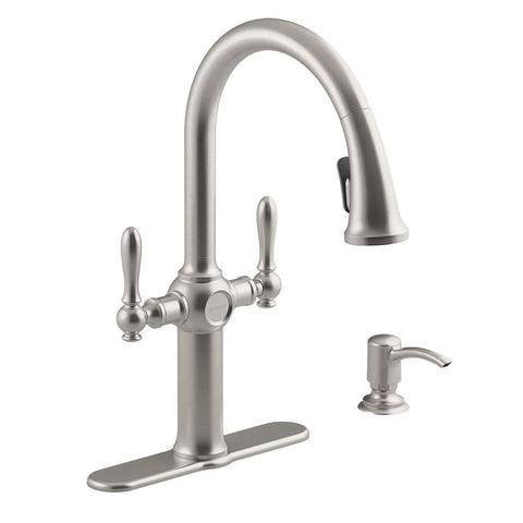 Faucet, kitchen, KOHLER Neuhaus Vibrant stainless 2-Handle Pull-down Kitchen Faucet