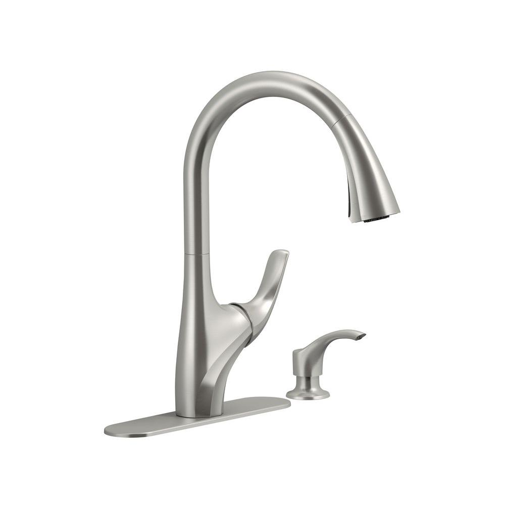 Kitchen faucet, Trielle Single-Handle Pull-Down Sprayer Kitchen Faucet in Vibrant Stainless