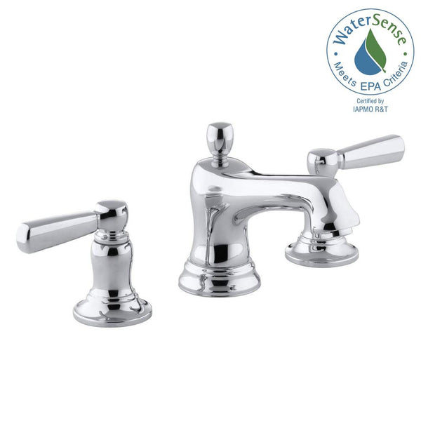Lavatory faucet, Bancroft 8 in. Widespread 2-Handle Low-Arc Bathroom Faucet in Chrome