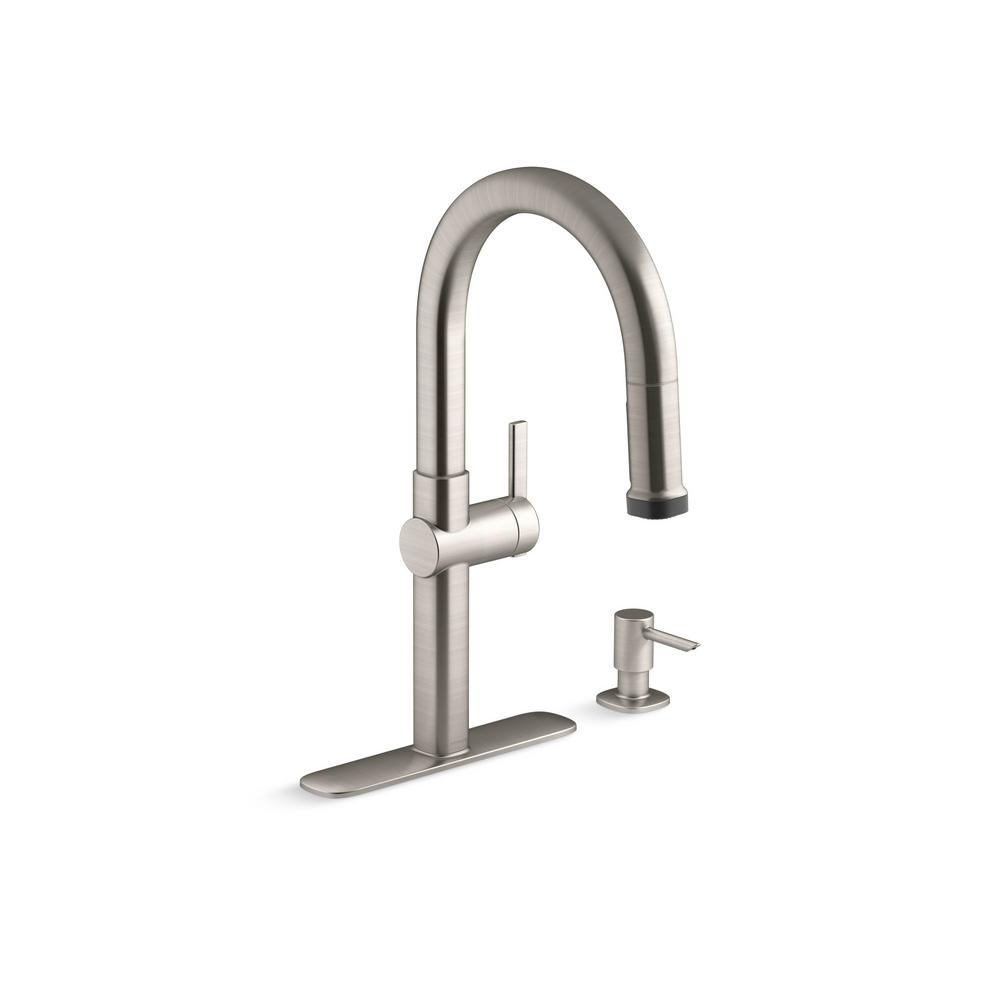 Faucet, kitchen, Rune Single-Handle Pull-Down Sprayer Kitchen Faucet in Vibrant Stainless